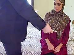 Sideways fucking Arab girlfriend hotel big cock