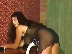 Amateur brunette reveals her big natural knockers before the masturbation